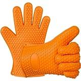 EVERDIGI Silicone BBQ Gloves Heat Resistance Grilling Waterproof Non- Slip Gloves for Potholder Grill Cooking Baking Frying Set of 2 Mitts -Orange
