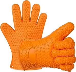 قفازات شواء من السيليكون بتصميم مقاوم للحرارة والانزلاق لحمل صواني الشواء والقلي من ايفير ديجي - (عدد 2)، برتقالي