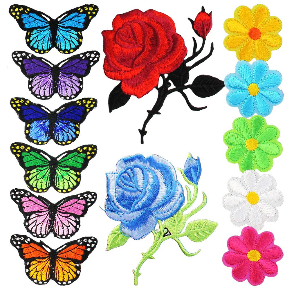 Yolyoo Flowers Butterfly Rose Iron on Patches Embroidery Applique Patches for Arts Crafts DIY Decor, Jackets, Jeans,Clothing, Bags