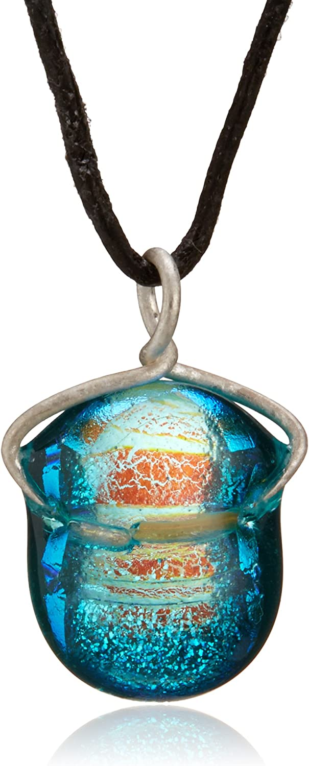 Water Ripple Necklace Small Blue Dichroic Pendant