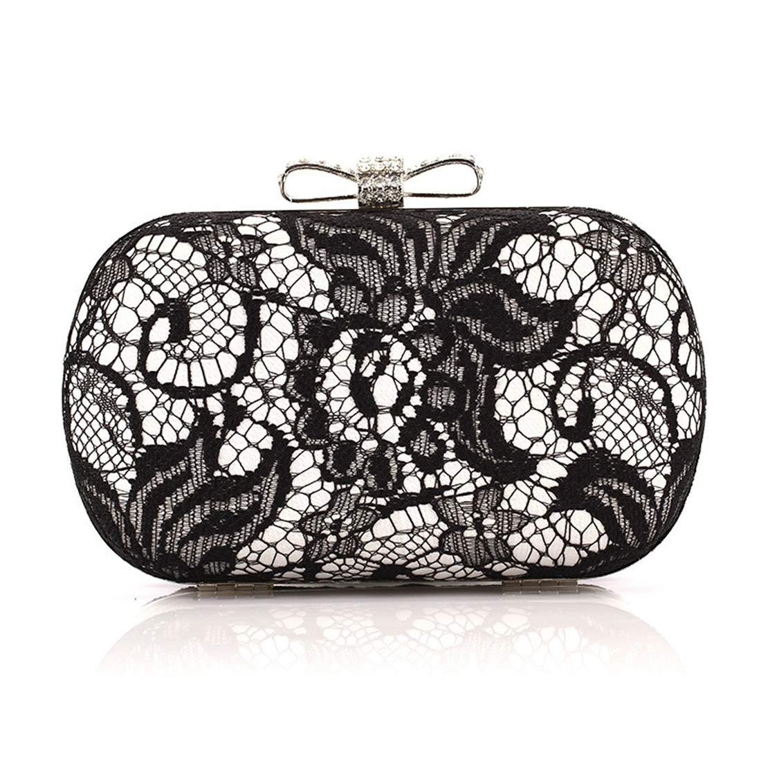 Carriemeow Crossbody Bag Lace Butterfly Dish Satin Evening Bag Clutch Purse Hand