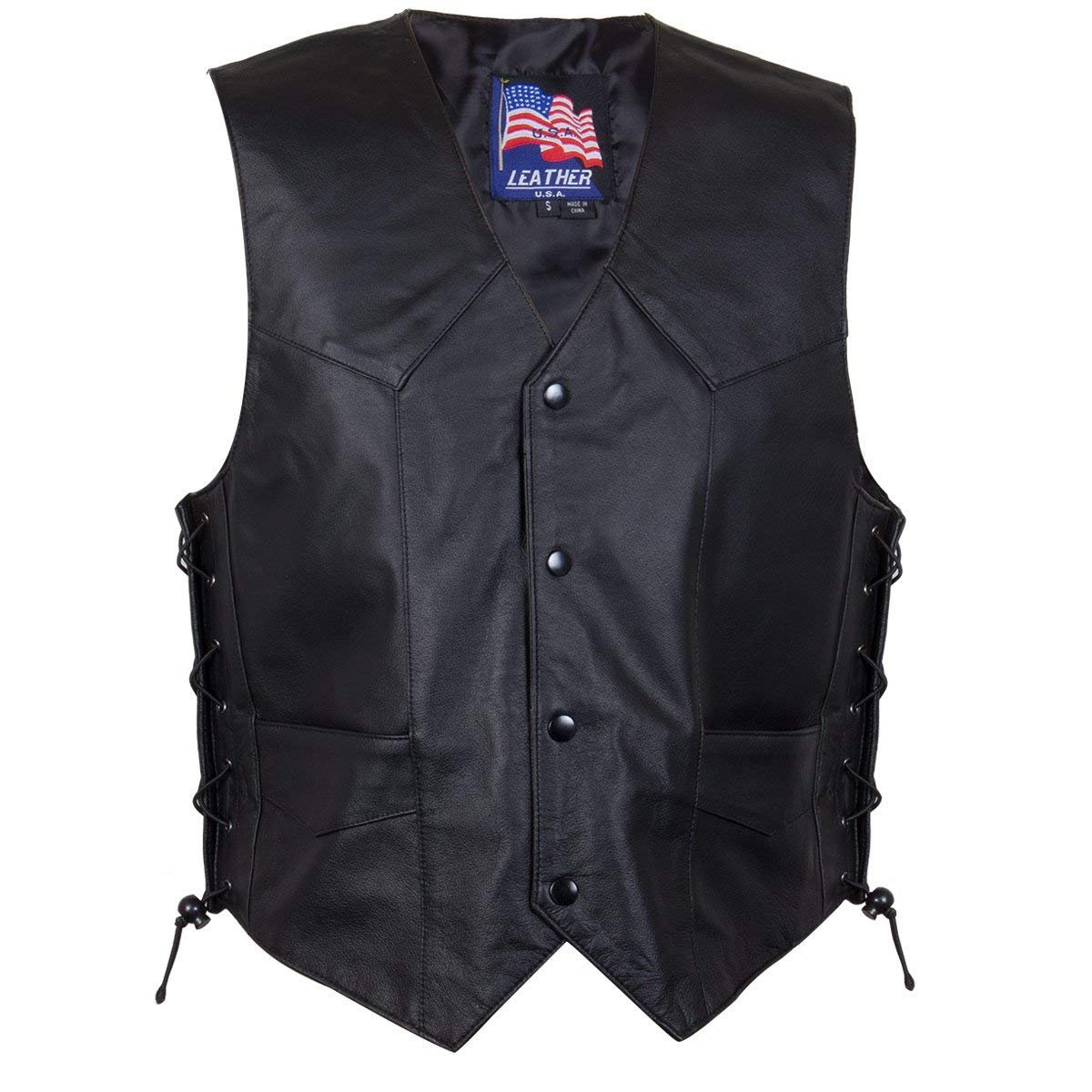 USA Leather Classic Style 201L Mens Leather Side Lace Vest X-Large