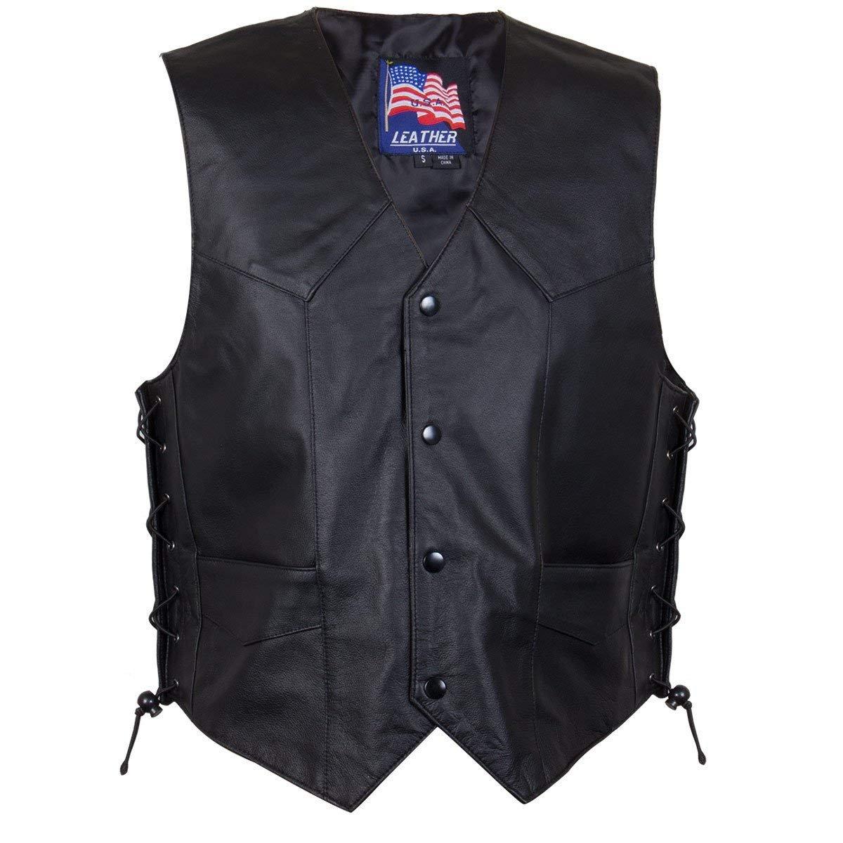Classic Style 201L Mens Leather Side Lace Vest - Medium