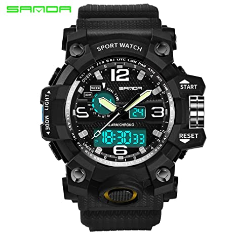 Amazon.com: 2016 New Brand SANDA Fashion Watch Men G Style Waterproof Sports Military Watches Shock Mens Luxury Analog Quartz Digital Watch (Black): Health ...