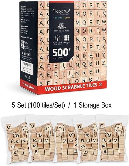 Magicfly Scrabble Fliesen, 500 Unidades Scrabble Letras para Jugar de Letras Scrabblestein de Madera š Scrabble baldosas con valores de números para Spieleabende artesanía Brettspiele: Amazon.es: Juguetes y juegos