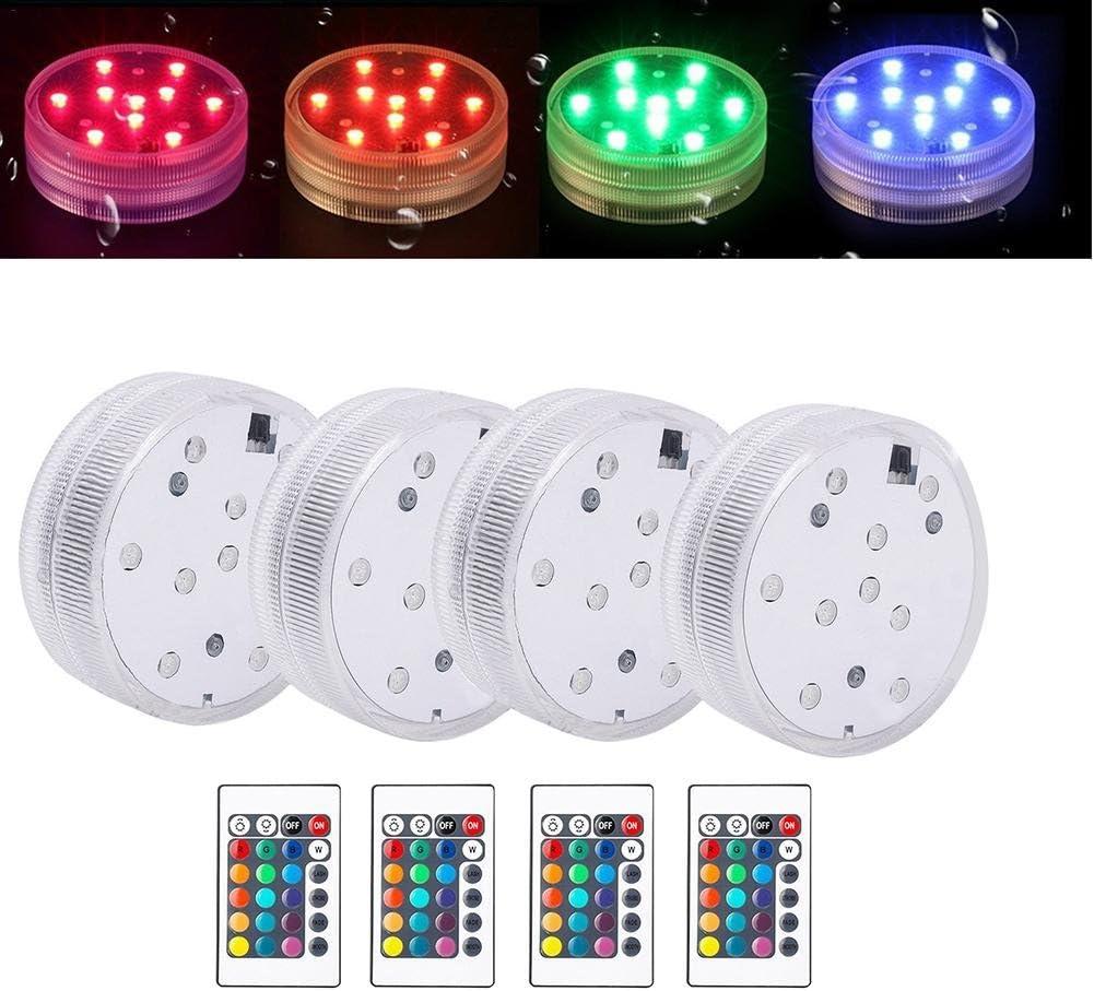 4 Piezas Luz de LED Luces de la Piscina con Cambio de Color RGB Luces al aire libre IP68 para decoración con Mando a Distancia Luces Flotantes para Tanque de Peces Piscina