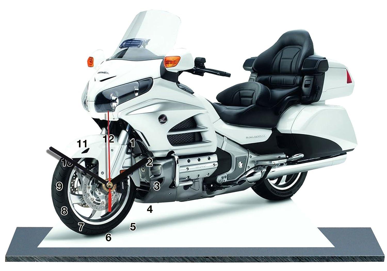 MINIATUR MODELL MOTORRAD in der Uhr 03 HONDA GOLDWING 1800 Wei/ß
