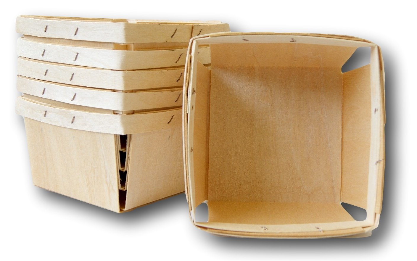 Quart Square Vented Wooden Berry Baskets - Set of 6