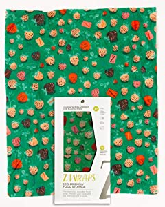 Z Wraps Multi 3-Pack, Reusable Beeswax Food Wrap and Food Storage Saver, Alternative to Plastic Wrap, Sustainable, Eco-Friendly Beeswax Food Wraps - Small, Medium, Large (Strawberry Fields)