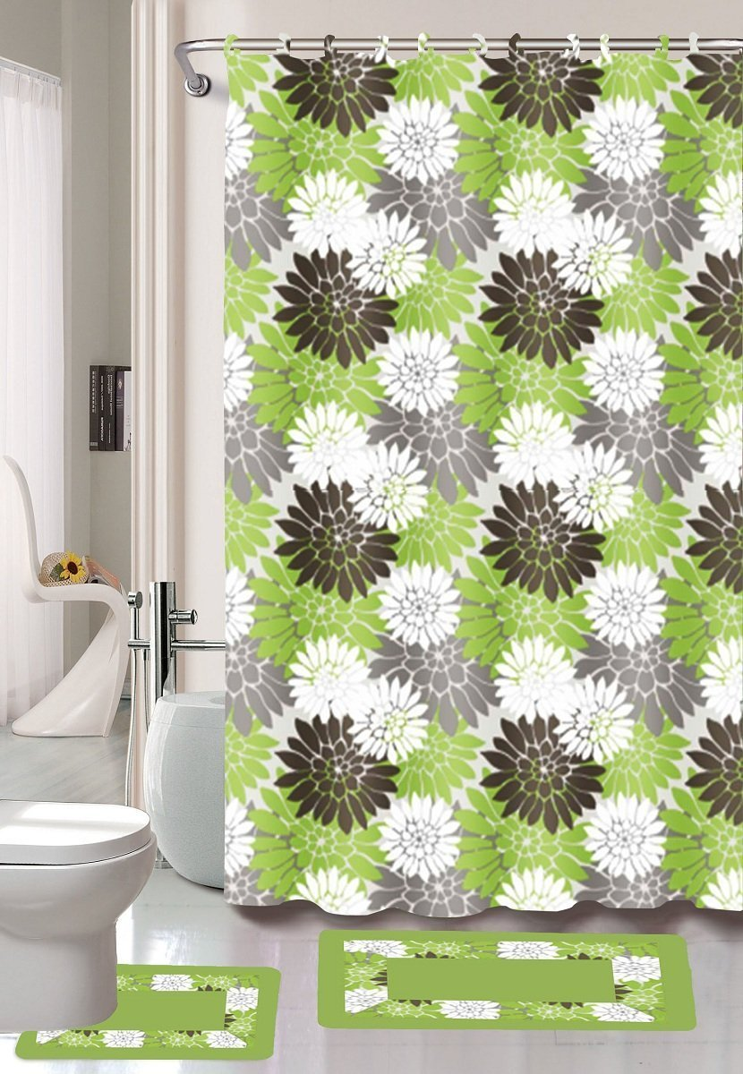 15-piece Erica Bathroom Set Bath Rugs Shower Curtain & Rings - Sage