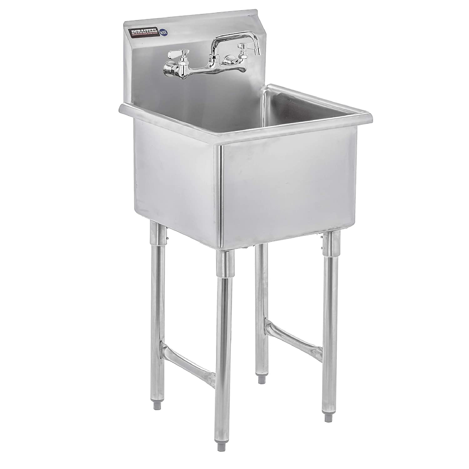 "DuraSteel Utility & Prep Sink - 1 Compartment Stainless Steel NSF Certified Easily Install - 18"" x 18"" Inner Tub Size with 8"" Swivel Spout Faucet (Commercial, Food, Kitchen, Laundry, Backyard)"