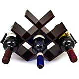 Sorbus Wine Rack Butterfly - Stores 8 Bottles of Wine - Sleek and Chic Looking - Minimal Assembly Required (Dark Mahogany)