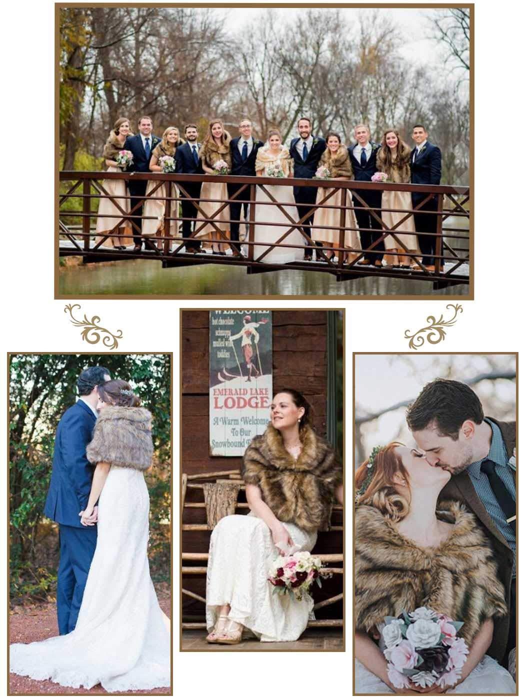 Aukmla 1920 Braut Hochzeit Kunstpelz Schal Wrap Braut Pelz Schal Fell Wraps und T/ücher f/ür Frauen Beige