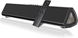 Sound Bars for TV with Subwoofer 15.7 Inch Surround Sound Soundbar Bluetooth/AUG/USB/Coax Connectivity for TV PC Phone Home Theater Tablet, Wired&Wireless Portable Sound bar with DSP Remote Control
