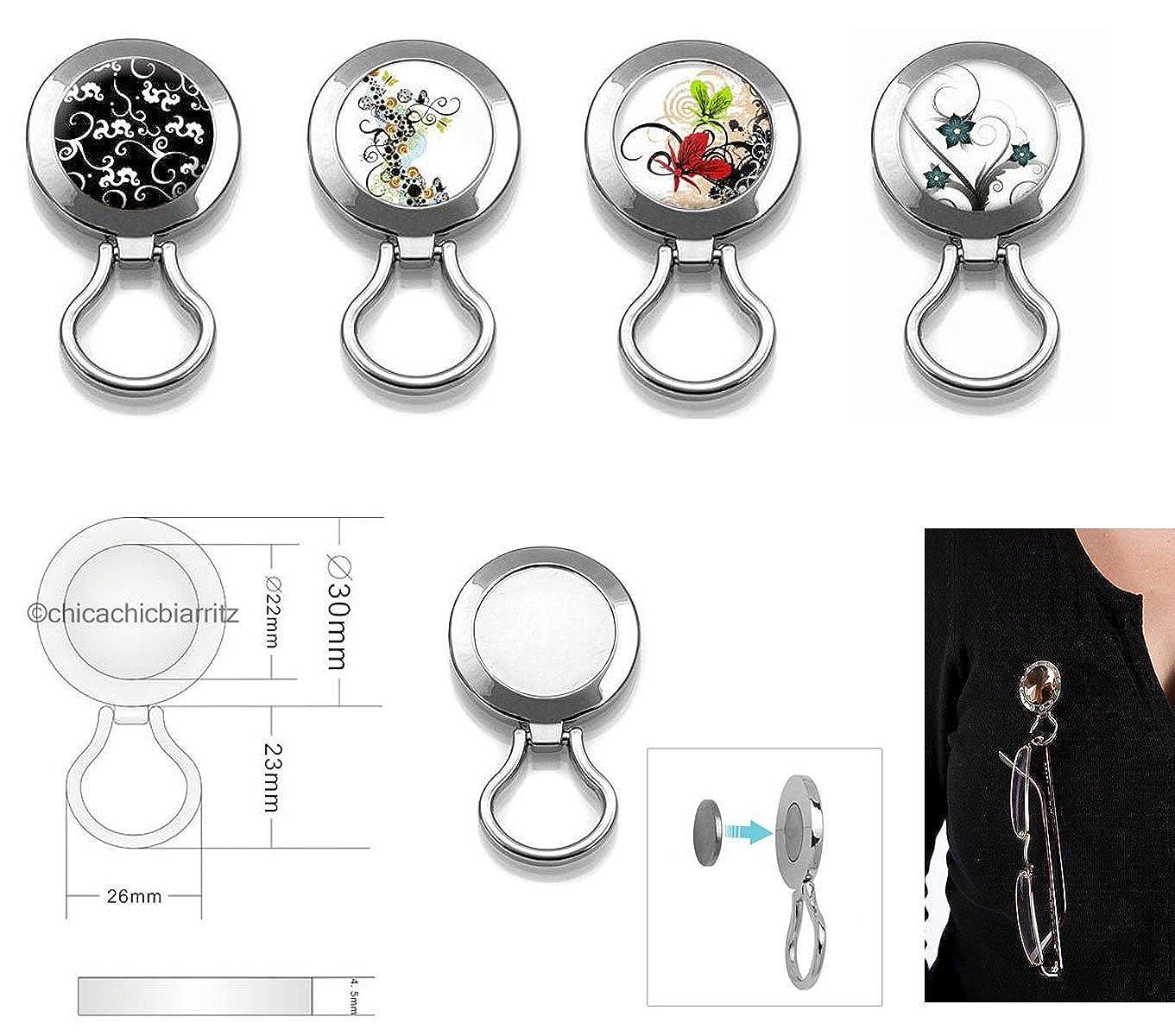 Sujeta Gafas Magnetico - Broche Cuelga Gafas Con Iman (Papillons Volutes): Amazon.es: Ropa y accesorios