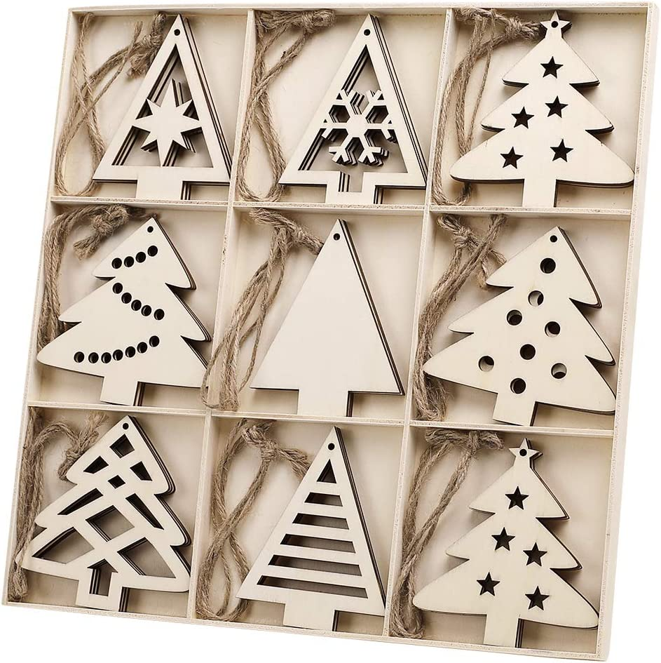 Free Amazon Promo Code 2020 for 27pcs Wooden Christmas Tree Shaped Ornaments