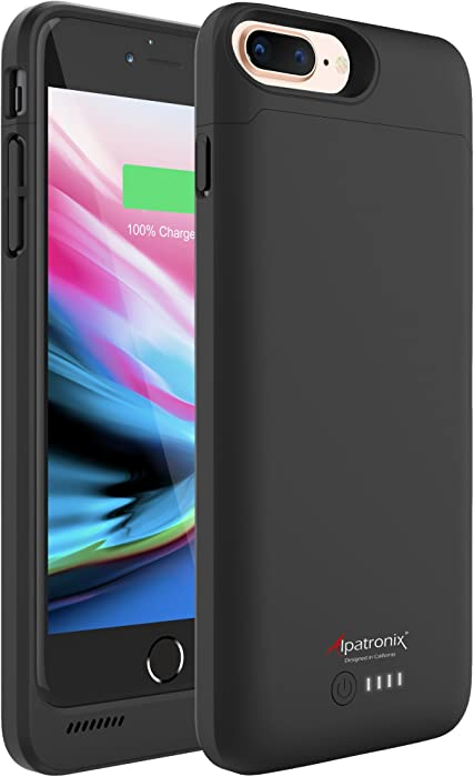 iPhone 8 Plus/7 Plus Battery Case, 5000mAh Slim Portable Protective Extended Charger Cover with Wireless Charging Compatible with iPhone 8 Plus & iPhone 7 Plus (5.5 inch) BX190plus - (Black)