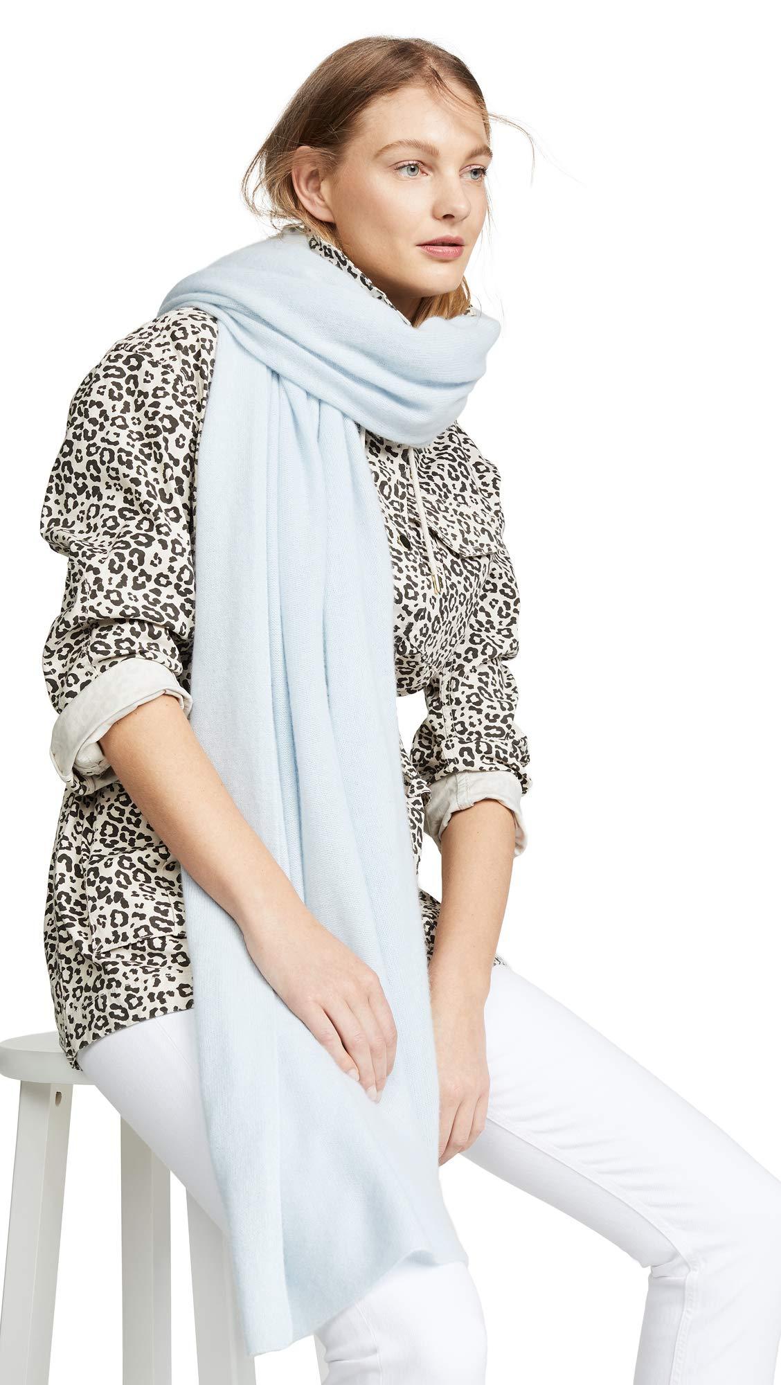 White + Warren Women's Travel Wrap Cashmere Scarf, Blue Mist, One Size