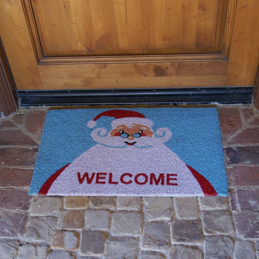 18 x 30-Inch Christmas Doormat Holiday Doormats Rubber-Cal Santa Claus is Back