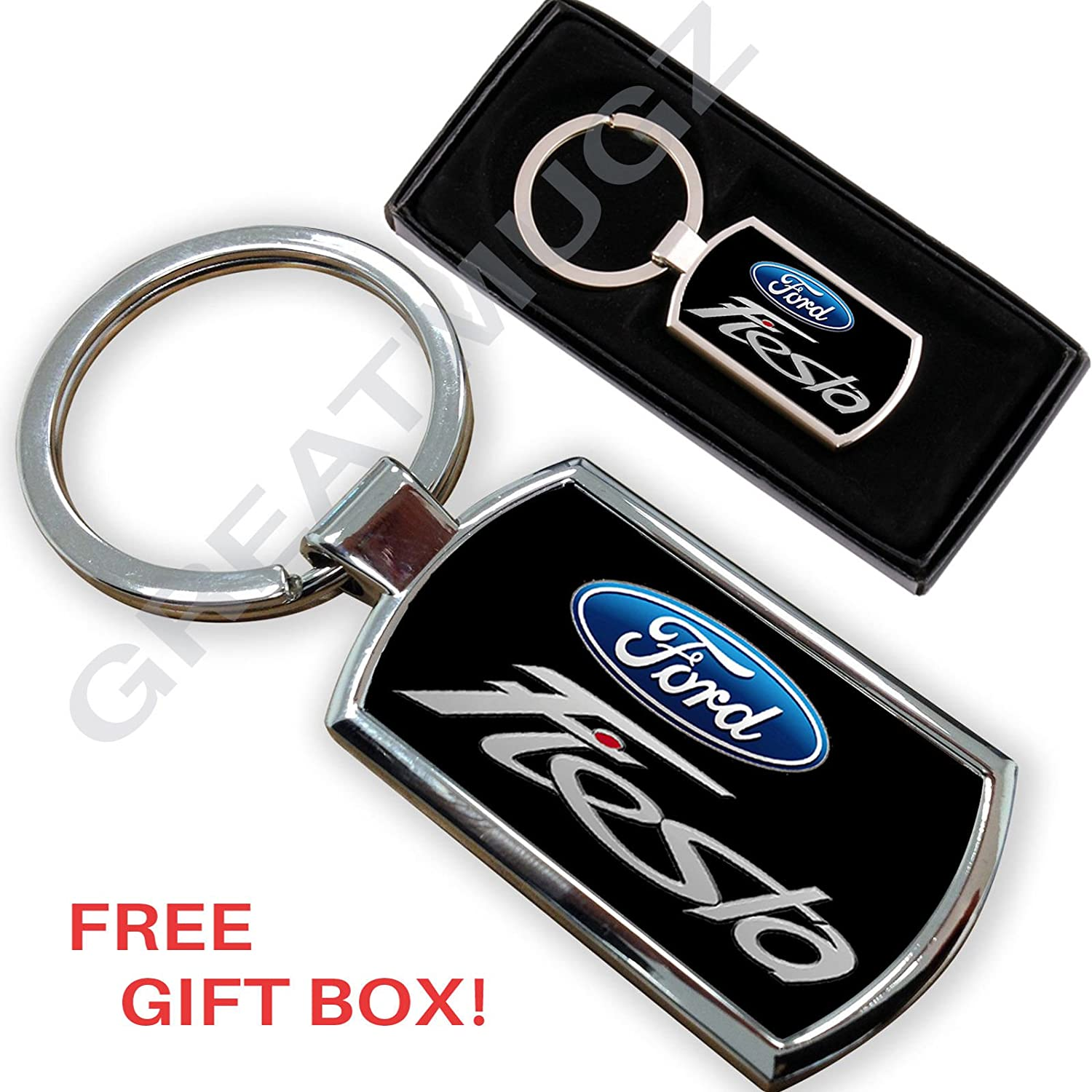 Cargifts FORD FIESTA CAR KEYRING KEY CHAIN RING FOB CHROME METAL NEW