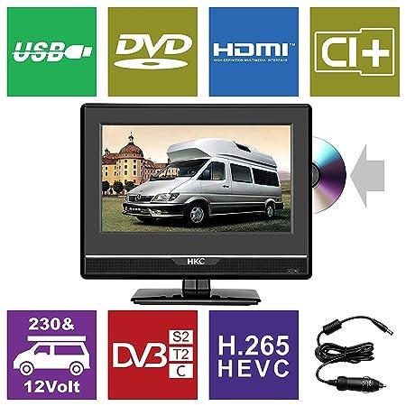 HKC 13M4C: 33,8 cm (13 Zoll) Mini-Fernseher mit DVD-Player (Full HD, Triple Tuner, CI+, Mediaplayer USB 2.0, 12V Kfz-Ladegerä