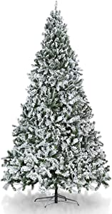 TOOCA 9ft Christmas Tree Snow Flocked, Hinged Artificial Christmas Tree with 2,028 Branch Tips for Home Holiday Party Decorations, Easy Assembly, Sturdy Folding Base (Decorations Not Included)