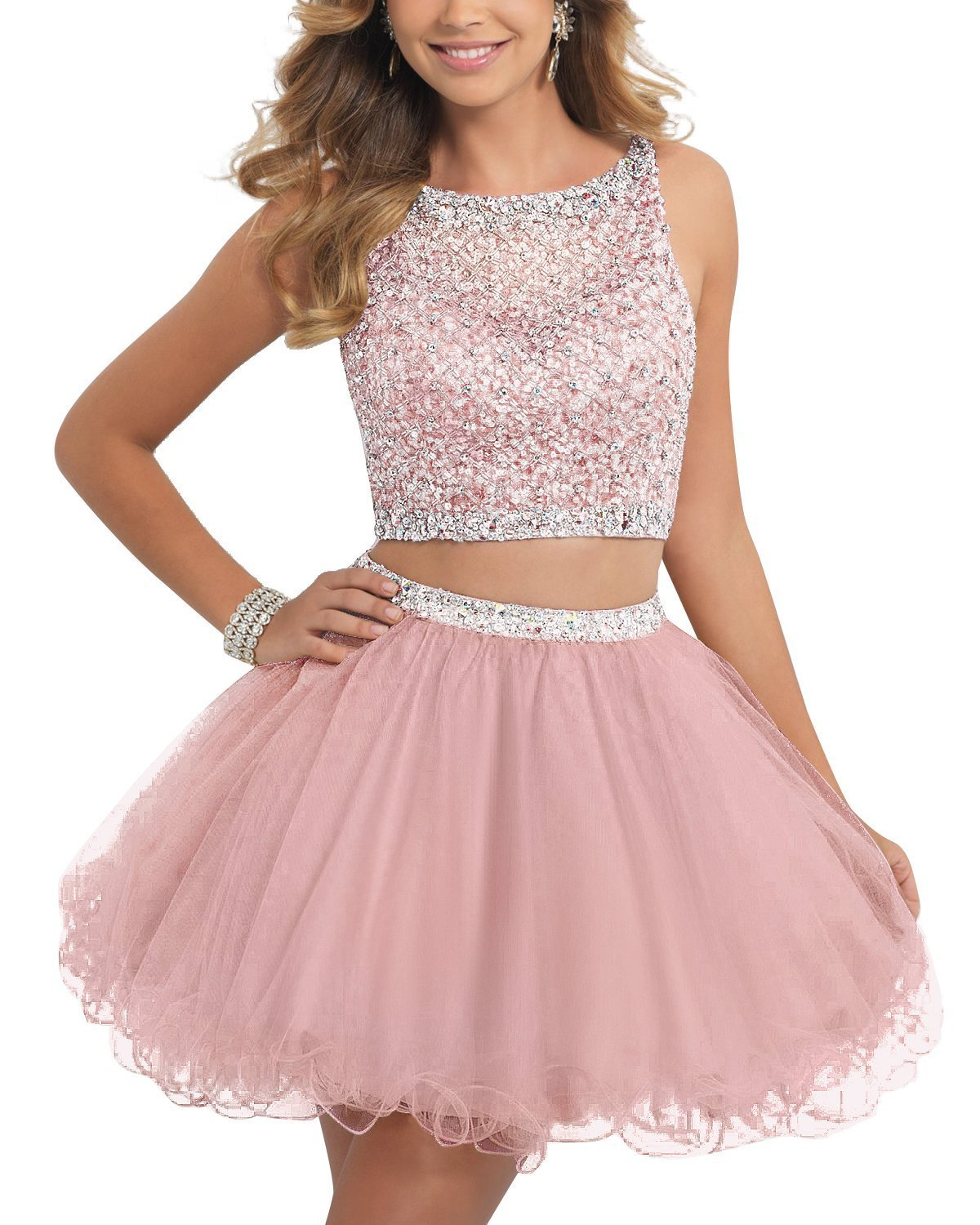 TANGFUTI Two Piece Homecoming Dresses Short Beaded Tulle Formal Prom Gowns 010 Blush US6