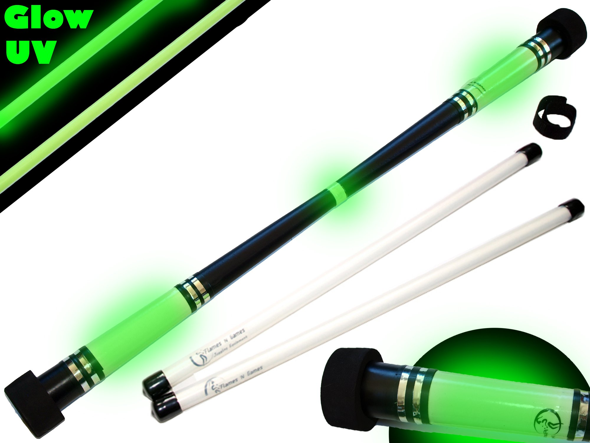 Flames N Games MOONSHINE Glow Devil Stick Set + Pro FIBRE Sticks! Juggling Devil sticks
