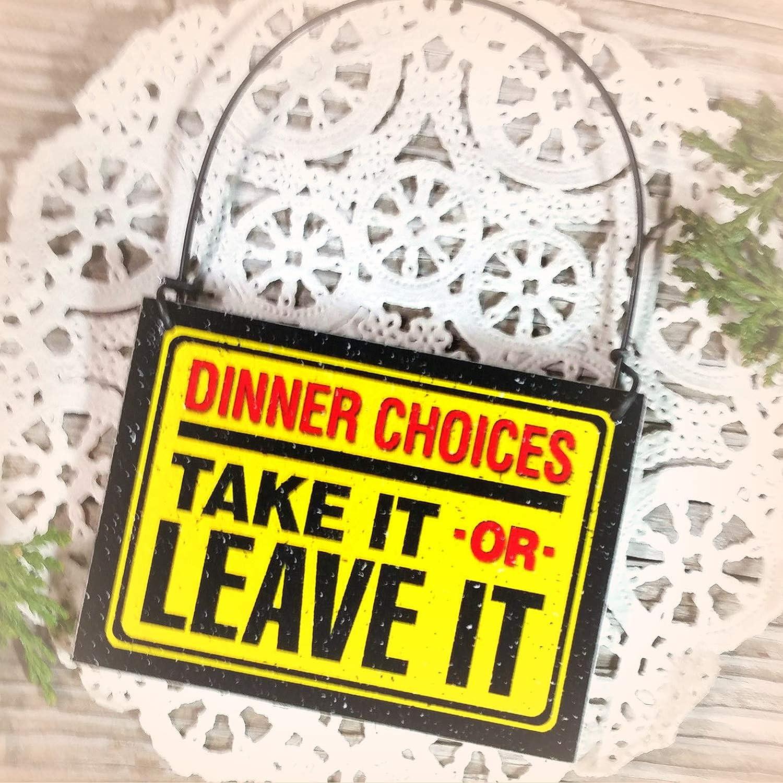 DECO Mini Sign KITCHEN Gag Menu Take It Leave It  Diner Eat Cook Chef Ornament