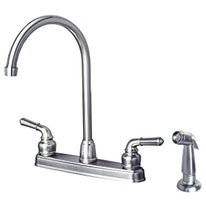 Laguna Brass 1201SPSS RV Mobile Home Non-Metallic High Arc Swivel Kitchen Sink Faucet with Side Spray Brushed Nickel Finish
