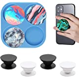 4 Cavity Circle Epoxy Casting Mold with 2Pcs Phone Sockets for DIY Crafts Jewelry Making 2Pcs Silicone On Top Phone Socket Molds for Popsocket Palksky Phone Grip Resin Mold