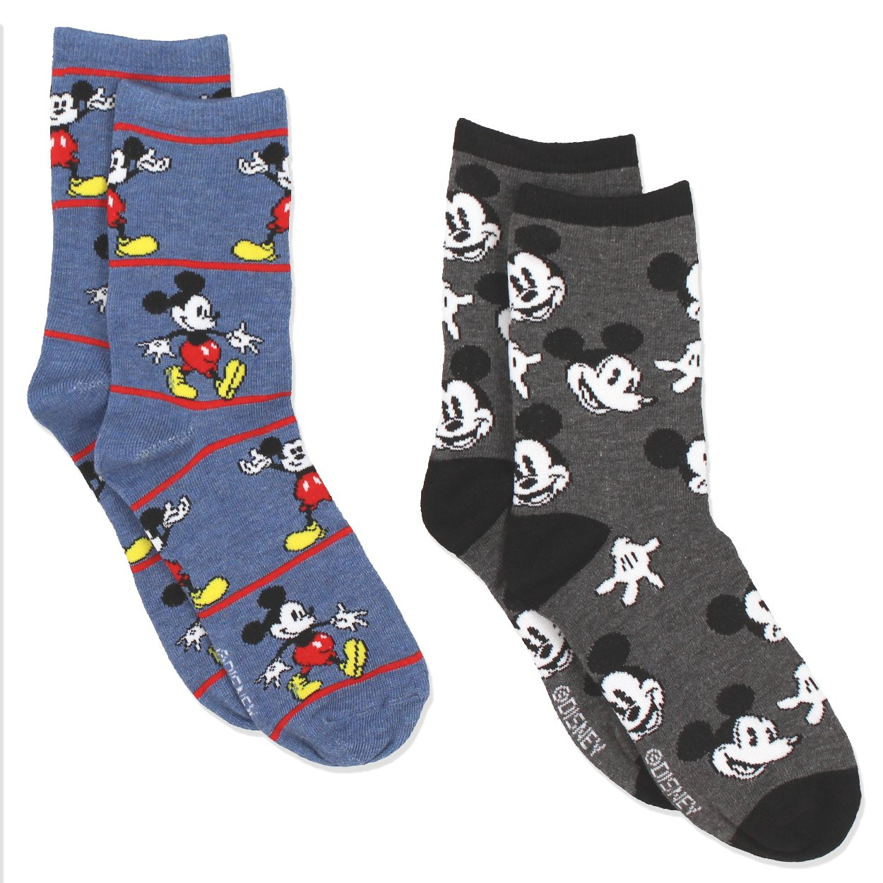 Mickey Mouse Womens 2 pack Socks (9-11 Womens (Shoe: 4-10), Crew Blue/Grey)
