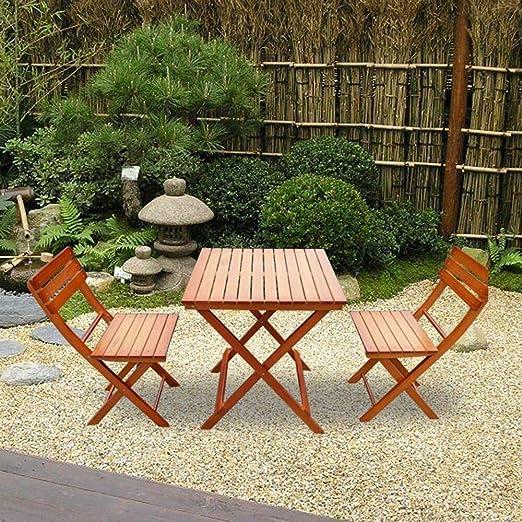 Keinode - Juego de Muebles de jardín y Patio de Madera de Abeto preaceitada, 2 plazas, 1 Mesa y 2 sillas para terraza, balcón, jardín, Camping, Bar, marrón: Amazon.es: Jardín