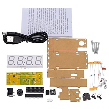 WINGONEER® 4 dígitos DIY LED reloj electrónico kit microcontrolador 0.8inch reloj digital del tubo