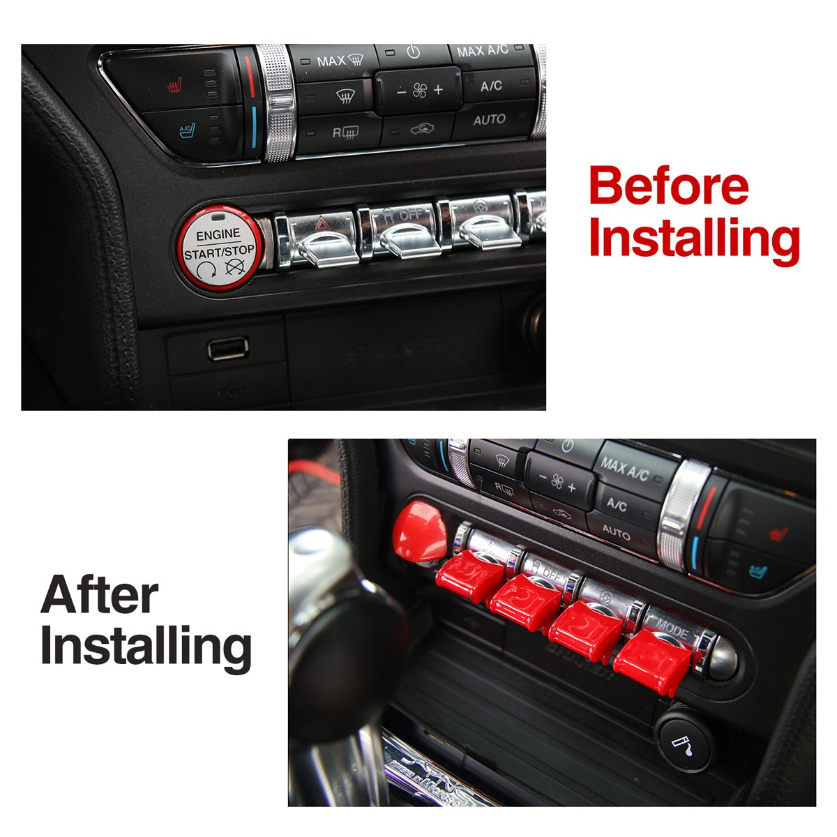 Red Engine Start//Stop Button Center Console Dashboard Button Switch Button Cover Trim for Ford Mustang 2015 2016 2017