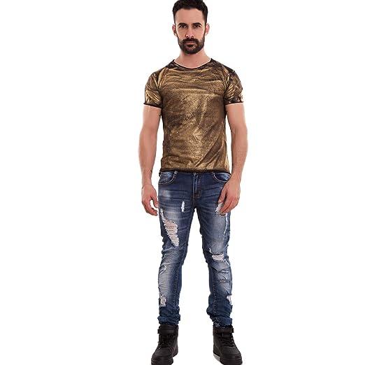 e7db3ad014c5ff Toocool - Maglia Uomo Maglietta Mezze Maniche t-Shirt Dorata Metallizzata  Nuova 7008-MOD [XL,Oro]: Amazon.it: Abbigliamento
