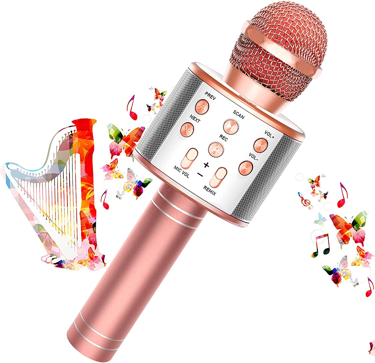 Toy'n Karaoke Microphone for Kids, 3 in 1 Wireless Portable Handheld Mic Karaoke Machine for Christmas Home Birthday Party, Voice Disguiser Karaoke Microphone for Kids