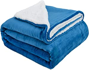 "VOTOWN HOME Sherpa Blanket Twin Extra Soft Plush Blanket Cozy Warm Reversible Winter Blanket for Bedroom Micro Fleece Fabric, Princess Blue Twin Size 60""x80"""