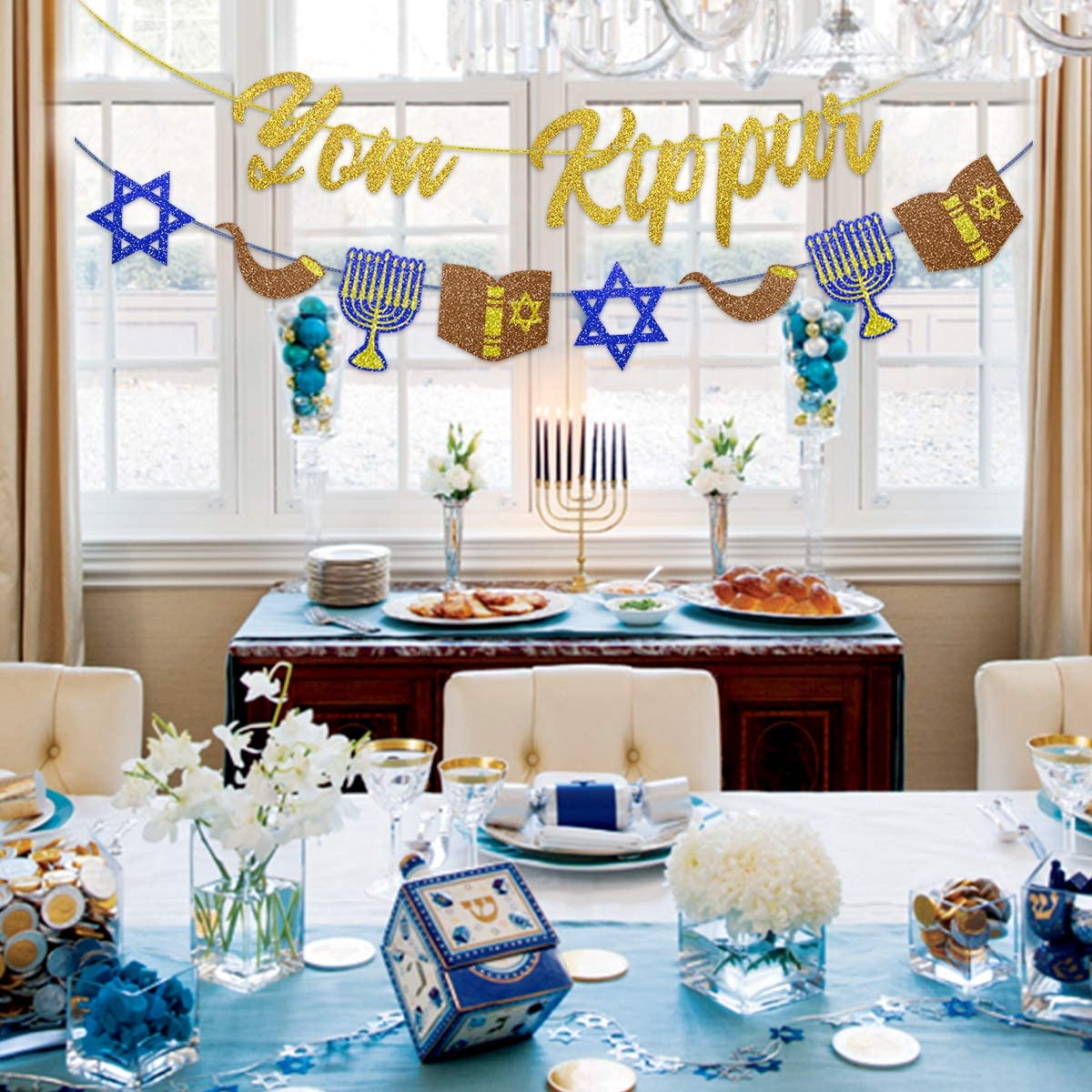 Yom Kippur Banner Jewish New Year Decoration Rosh Hashanah Party Decor Supplies Jewish Atonement Forgiveness Bunting Garland