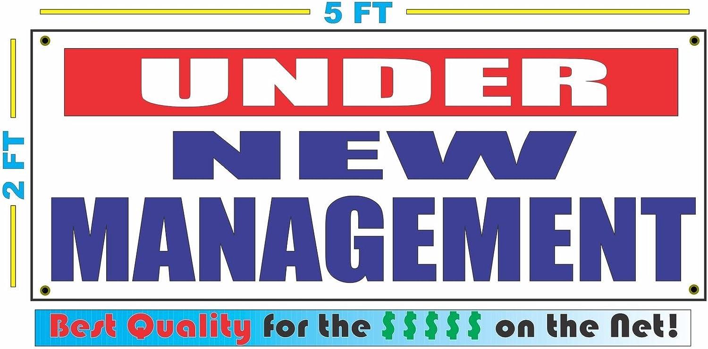 UNDER NEW MANAGEMENT Banner Sign NEW RW/&B 2x5