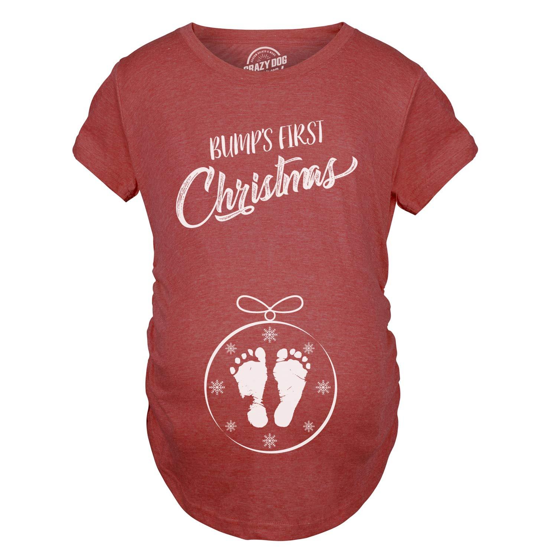 CHRISTMAS BAUBLE BABY BUMP WOMENS MATERNITY DESIGNER T-SHIRT TSHIRT FUN PRESENT