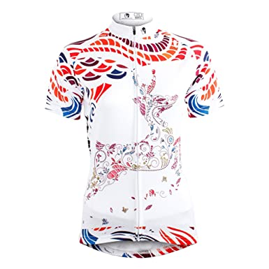 be0193453 Amazon.com  QinYing Women Breathable Cycling Jersey Cute Deer Shirt Short  Sleeve  Clothing