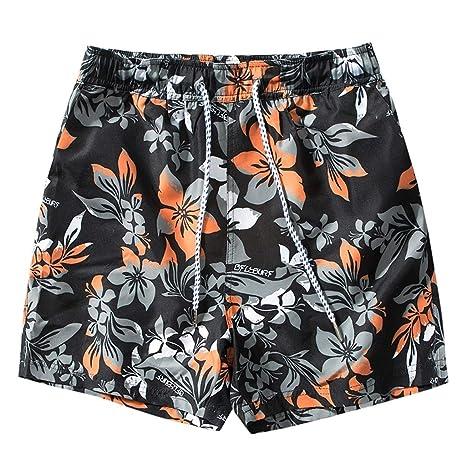 HMKYYJ Pantalones Cortos de Playa elásticos Impresos para Hombre ...