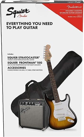 Fender Squier Stratocaster LRL Brown Sunburst + Frontman 10G + Funda + Accesorios Guitarra Eléctrica: Amazon.es: Electrónica