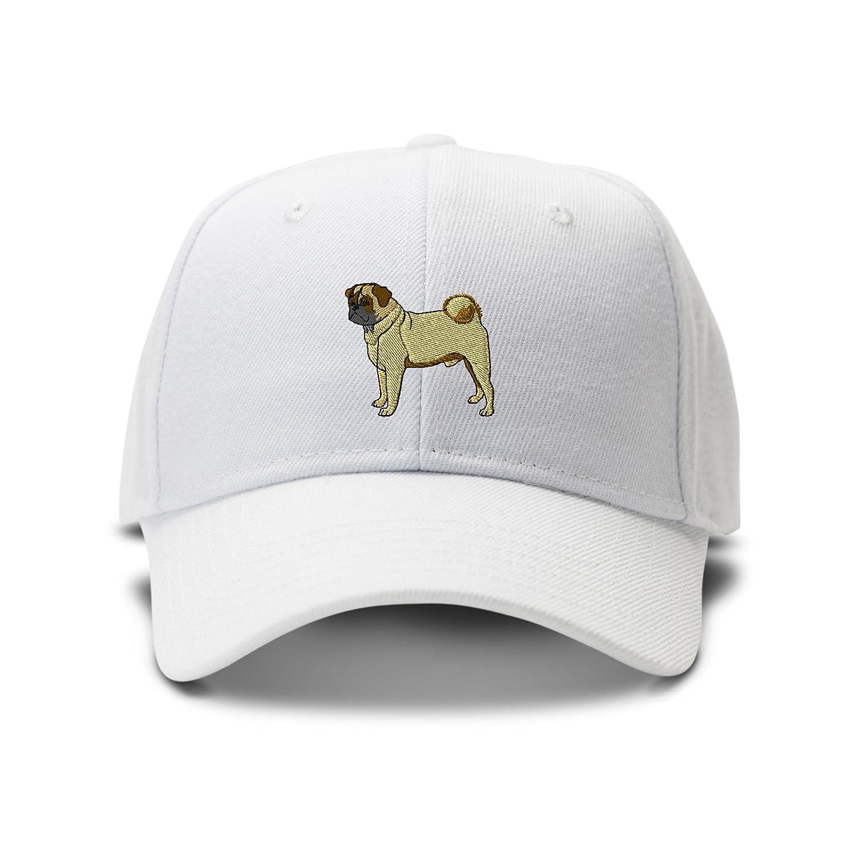 Amazon.com  Speedy Pros Pug Embroidery Adjustable Structured Baseball Hat  White  Clothing f161061c358