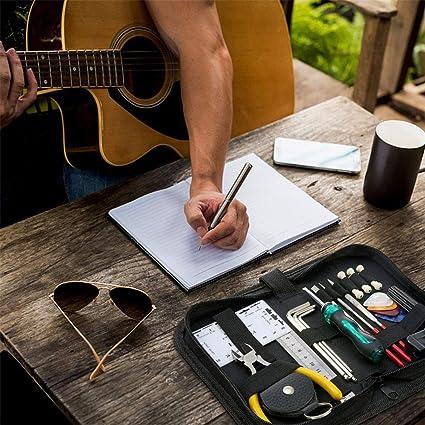 Amazon.com: Leoie Herramienta de reparaci\u00f3n de la guitarra Mantenimiento Kit de herramientas de limpieza Organizador de cuerdas Acci\u00f3n Regla ...
