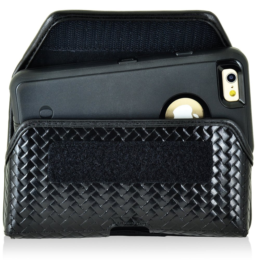 Basket Weave Genuine Leather Police Law Enforcement Case with Heavy Duty Metal Rotating Duty Belt Loop Clip and Hook and Loop Closure fits iPhone 7 with an Otterbox Defender case on it.