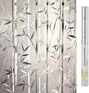 LEMON CLOUD Bamboo Window Film Stained Glass Film Frosted Privacy Window Decal Decorative Window Cling No Glue Removable Window Stickers(17.7 x 78.7 inch)