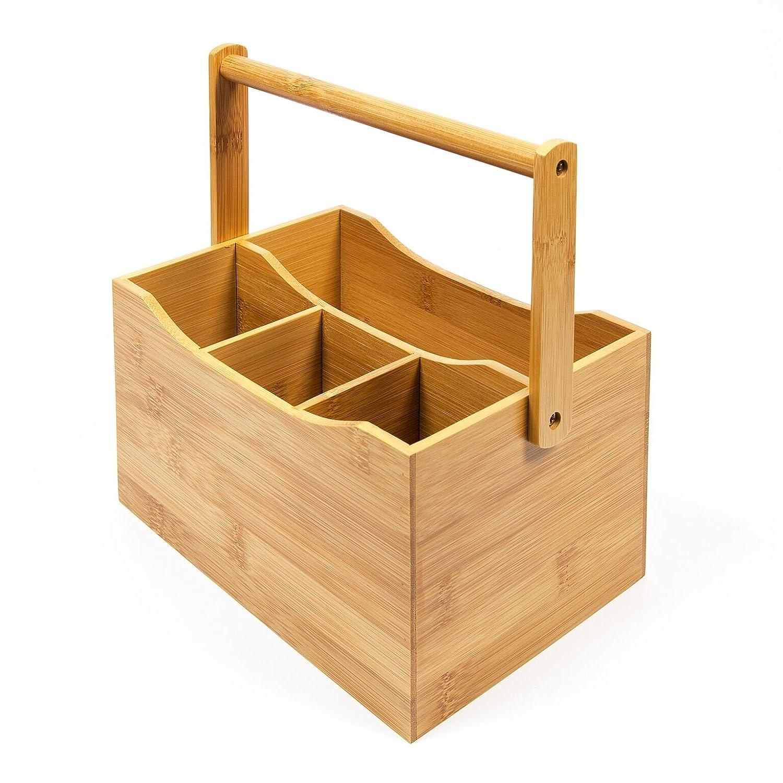Casier /à rangement d/'ustensile de cuisine 4/compartiments Woodluv Poign/ée en bambou /à rabat