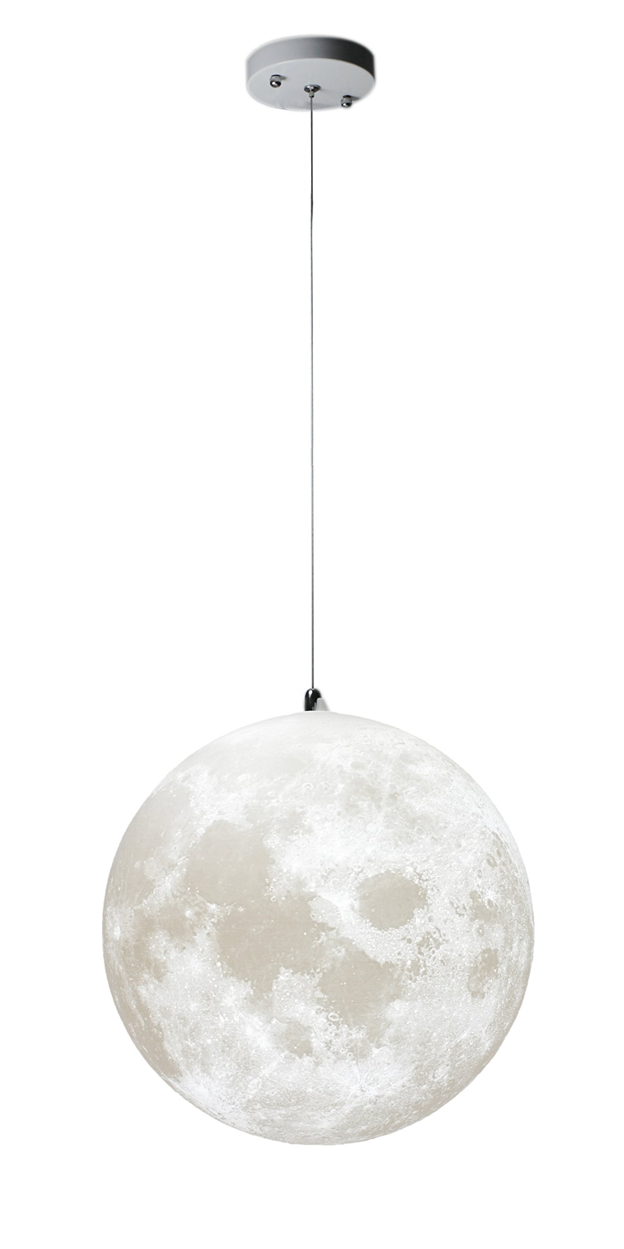 KUNGKEN Moon Chandelier LED 3D Printing Moon Ceiling Lamp Warm and Cool Lighting Bulbs Included for Kitchen Restaurant Cafe Hotel Foyer Decoration 12IN